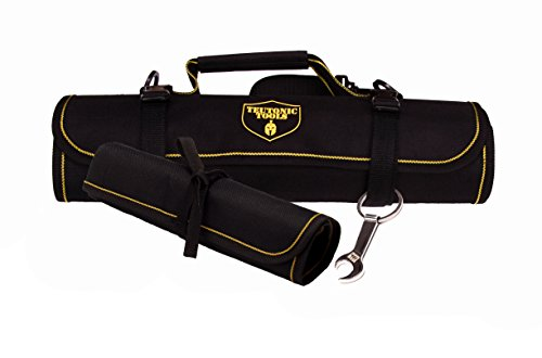 Tool Roll Up Bag Combo - 25 Pockets Pouch Kit for Electricians Mechanics - Shoulder Strap, Clips for Closure - Small Rolling Organizer - Wrench Keychain - Storage/Packing Tips eBook by Teutonic Tools