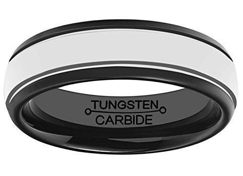 HSG Rings for Men 6mm Black Plated Polished Tungsten Carbide Comfort Fit Wedding Band