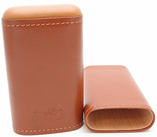 Spanish Cedar and Leather Robusto Cigar Case - Authentic Full Grade Buffalo Hide Leather - Tan (Humidor Robusto)