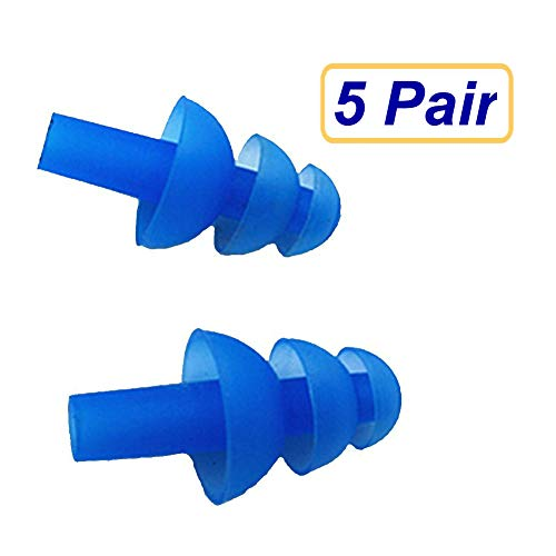 SUKRAGRAHA 5 Pairs Adult Silicone Earplugs Swimmers Soft Flexible Ear Plugs for Swimming or Sleeping Blue ()