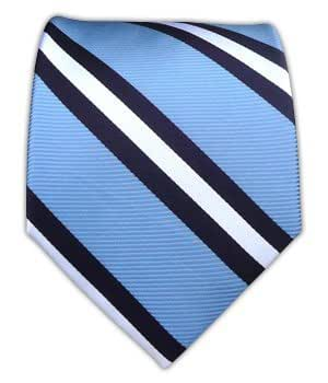 The Tie Bar 100% Woven Silk Light Blue and Navy Power Striped Tie