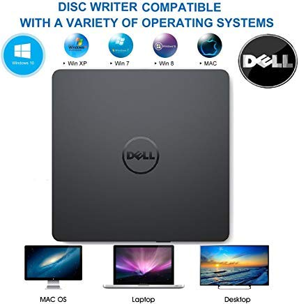 USB External DVD Drive, Dell Portable DVD / CD +/-RW Drive Burner for Windows 10 / 8 /8.1/ 7 Laptop Computer PC of HP Dell LG Asus Acer LG Asus Lenovo - Black Color