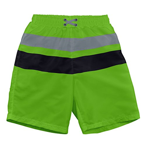 i play Boys' Colorblock Trunks with Built-in Reusable Absorbent Swim Diaper, Lime/Black, 6/12mo