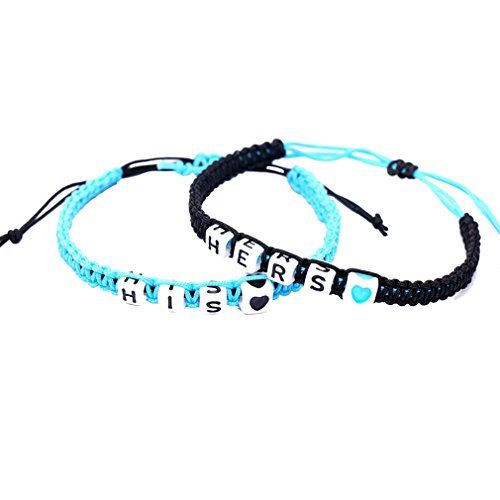 Couple Bracelets Braided Jewelry Key Lock Heart Love His and Hers Letter rope Womens Mens 2PCS JDXN (blue black hise and (Letter Link Style Name Bracelet)