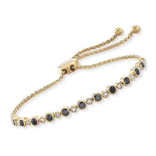 Ross-Simons 1.00 ct. t.w. Bezel-Set Black and White Diamond Bolo Bracelet in 18kt Yellow Gold Over ()