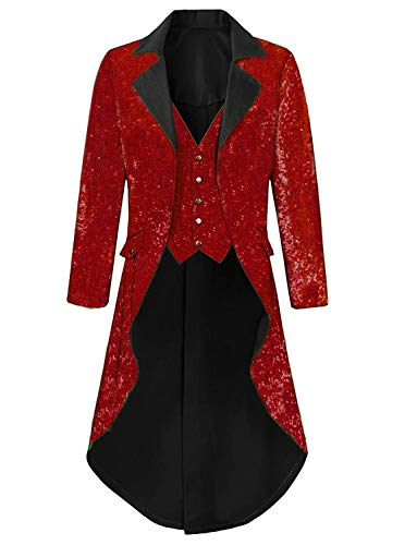 Men Sequins Costume for Theatre Burgundy Tuxedo Tails Costume Joker Jacket for Men]()