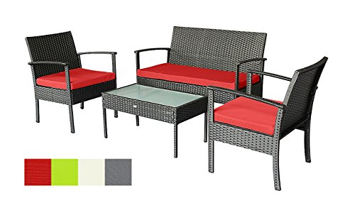 Oakside Small Patio Furniture Set Outdoor Wicker Porch Furniture Loveseat and Chairs with Extra Cushion Covers for Replacement (Red)
