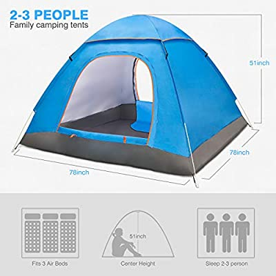 Amagoing 2-3 Person Tents for Camping Automatic Pop Up Waterproof Tent with Carry Bag for Backpacking, Picnic,Hiking,Fishing,Outdoor Use