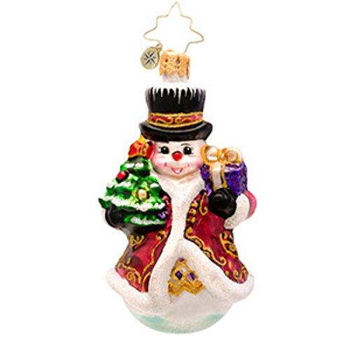 Christopher Radko Glass Fancy Frost Snowman Gem Christmas Ornament #1017202