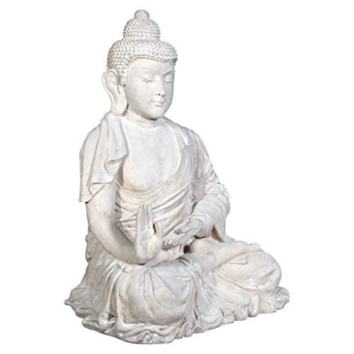 Fiberglass Stone - Design Toscano Meditative Buddha of the Grand Temple Garden Statue, Giant 47 Inch, Fiberglass Polyresin, Antique Stone