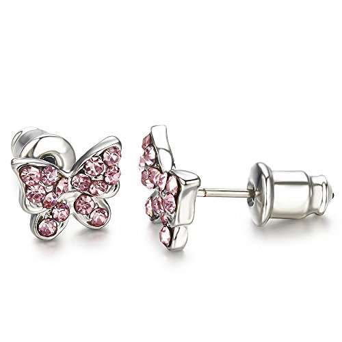 Childrens Butterfly Earrings (Buyless Fashion Surgical Stainless Steel Butterfly Stud Earrings - Pink)