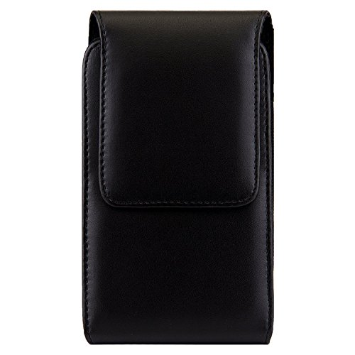 Premium PU Leather Vertical Case Holster with Belt Clip for Samsung Galaxy Note 8 / Galaxy S8 Active / Motorola Moto G5s / E4 Plus / LU Studio J8 / Grand XL / BLU Vivo 8 / Alcatel Idol 5S (Black1)
