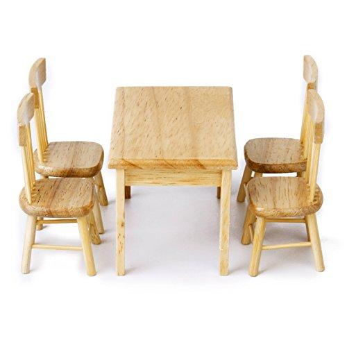 oulii 5pcs 112 dollhouse miniature manger table chaise meubles en bois de set couleur bois amazonfr jeux et jouets