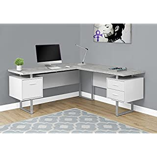 """Monarch Specialties Computer 70""""L Desk Left or Right Facing - White / Cement-Look"""