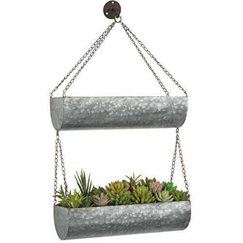 MyGift 2-Tier Galvanized Iron Hanging Planter Rack with Chain and Hook