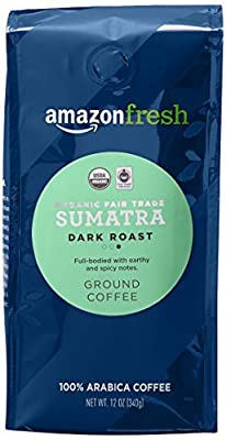 AmazonFresh Fair Trade Organic Sumatra Coffee, Dark Roast, Ground, 12 Ounce