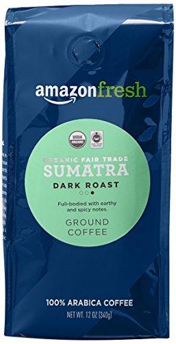 AmazonFresh Fair Trade Organic Sumatra Coffee, Dark Roast, Ground, 12 Ounce