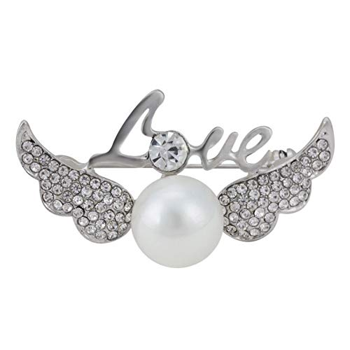 HUNANANA Brooch for Women Accessories Pins Clear Crystal Angel Wings White Pearl Vintage Scarf Pin Rhinestone Jewelry