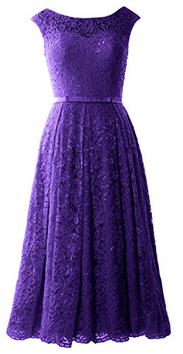 MACloth Caps Sleeve Lace Cocktail Dress Tea Length Wedding Party Formal Gown Morado