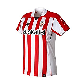 New Balance Camiseta AC Bilbao MC Primera Equipación Mujer 2017-2018 Blanco-Rojo Talla