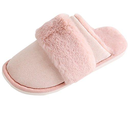 Miyang Womens Fluff Sheepskin Fleece House Luxe Slipper A-pink