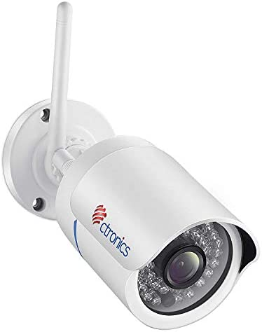 Ctronics WiFi Wireless Security Camera Outdoor Bullet Home Surveillance IP Camera HD 1080P Night Vision,Motion Detect,Email Alert,PC,Phone,Tablet,CMS Remote Review,Night Vision,Up to 128G SD