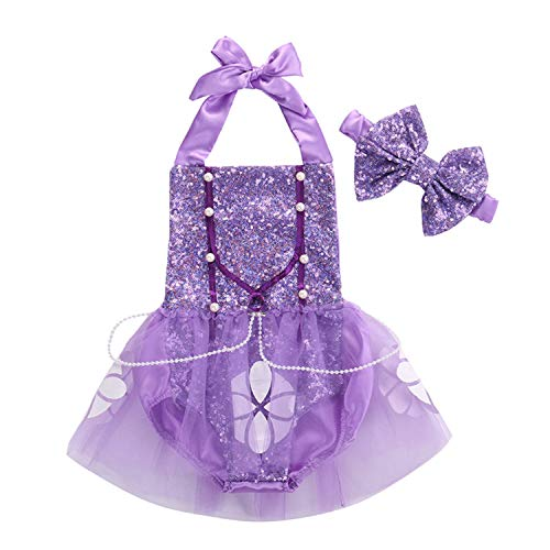 Sequins Sophia Newborn Baby Girl Halter Bodysuits Jumpsuit Playsuit Outfit Sunsuit Costume Lace -