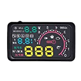 "AIJICHE New car HUD Head up Display 5.5"" KM/h and MPH Speed Warning OBD2 Multiple Projector Windshield Interface - Color Bright System"