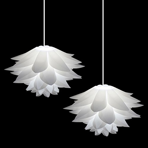 2 PCS Excelvan Ceiling Pendant DIY IQ Jigsaw Puzzle White Lotus Flower Lamp Shade Kit for Christmas Living Room, Dining room Decor Lighting