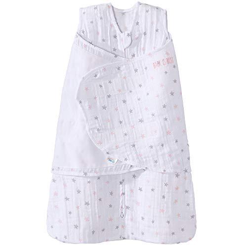 Halo 100% Cotton Muslin Sleepsack Swaddle Wearable Blanket, Pink Stars, Small