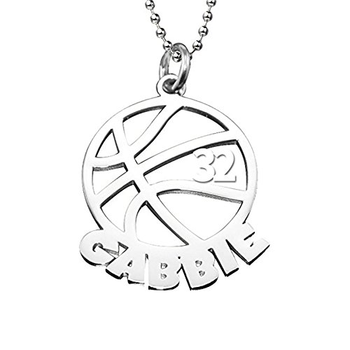 (LAOFU 925 Sterling Silver Personalized Unisex Men Cut Out Basketball Name Necklace Pendant with Number)
