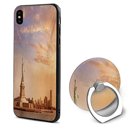 Skyscraper Sculptures - Sculptures iPhone x Cases,Statue of Liberty American Freedom Symbol on NYC Sunset with River Skyscraper Yellow White,Design Mobile Phone Shell Ring Bracket