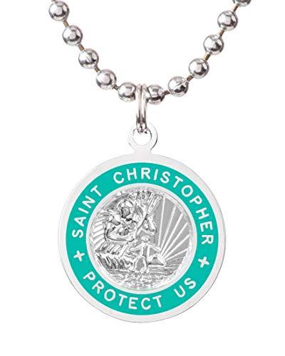 Get Back St. Christopher Surf Necklace | Medium - Silver/Teal