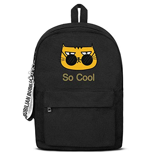TRYHTRHGH Funy Personalized Cool Cat Black Canvas School Bag Backpack Girls Unisex Perfect College Laptop Bag for Teens Girls Students Casual Lightweight Travel Daypack Outdoor -