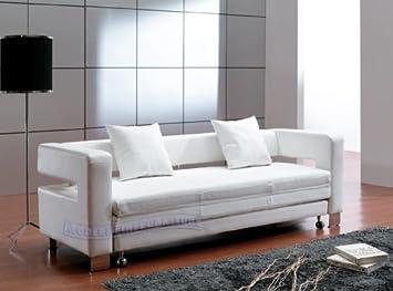 Amazon.com: Contemporary Furniture Modern White Leather Sofa ...