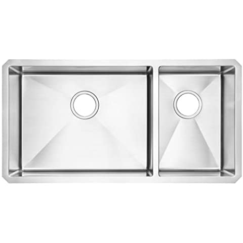 American Standard 18CR.9351800.075 Pekoe Undermount 35x18 Offset Double Bowl Kitchen Sink with Included Drain & Bottom Grid, Stainless - American Standard Console