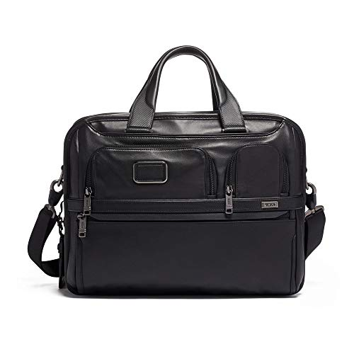 TUMI - Alpha 3 Expandable Organizer Leather Laptop Brief Briefcase - 15 Inch Computer Bag for Men and Women - Black ()