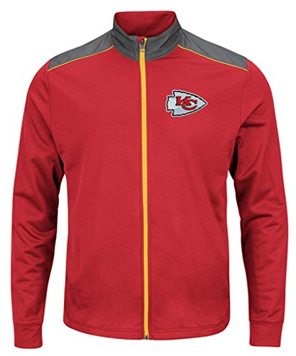 Kansas City Chiefs NFL Mens Majestic Therma Base Tech Team Full Zip Track Jacket Red Size 6XL