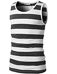 H2H Mens Casual Slim Fit Sleeveless Crewneck Lightweight Striped Summer Tank Top