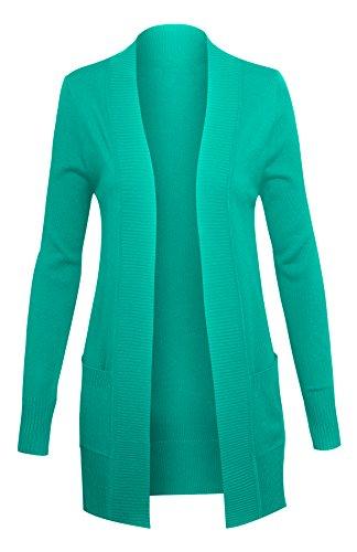 Women's Classic Long Sleeve Open Sweater Cardigan with - Styled Fleece Sweatshirt Crewneck