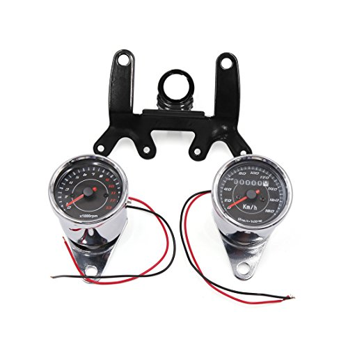 uxcell Universal LED Backlight Motorcycle Tachometer Speedometer Odometer Gauge Set by uxcell