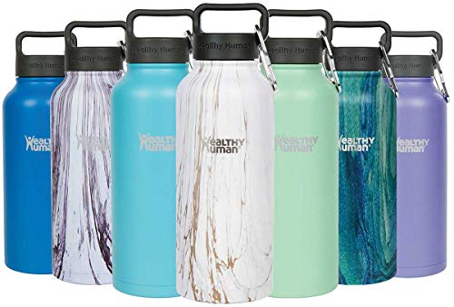 (Healthy Human Stainless Steel Vacuum Insulated Water Bottle | Keeps Cold 24 Hours, Hot 12 Hours | Double Walled Water Bottle | Carabiner and Hydro Guide | 32 oz Stone Gold)