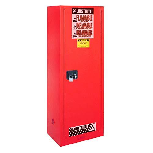 [해외]Justrite 895421 Sure-Grip Slimline Flammables Cabinet Self-Close 54 Gal Red / Justrite 895421 Sure-Grip Slimline Flammables Cabinet, Self-Close, 54 Gal, Red