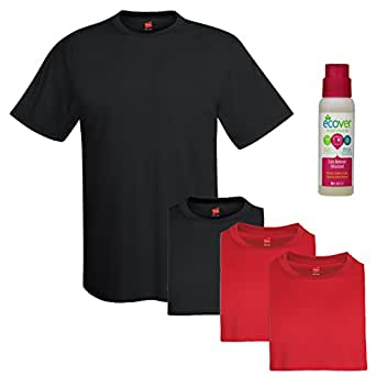 Hanes Men's 4-Pack Of Cool Dri Tagless Tees with Ecover, S, Black/Red