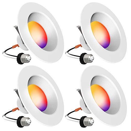 Smart Recessed Lighting - iLintek Bluetooth 6 Inch Led Downlight (Version 2.0) Color Changing Retrofit Fixture Tunable White Dimmable Compatible with Alexa Google Assistant (6 in-4)