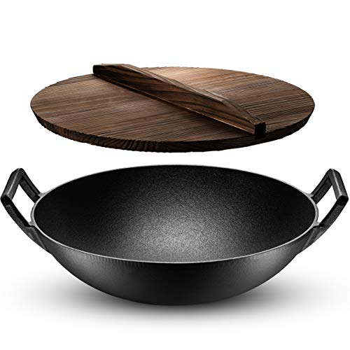 Klee Pre-Seasoned Cast Iron Wok with Wooden Wok Lid - Cast Iron Wok 14 Inch - Non-Stick Wok with Lid - Wok Pan with Flat Bottom - Cast Iron Stir Fry Pan - Wok with 2 Handles - Cast Iron Pot with Lid