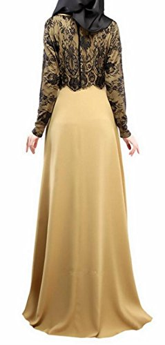 Dress Long Lace Khaki Sleeve Muslim Stitching Islam Domple Womens Kaftan Abaya wqBzxOtOp