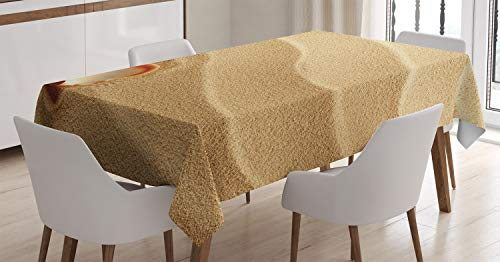 Ambesonne Seashells Tablecloth, Little Seashell on Golden Yellow Sand Sea Coastal Theme Beach Art Print, Rectangular Table Cover for Dining Room Kitchen Decor, 60
