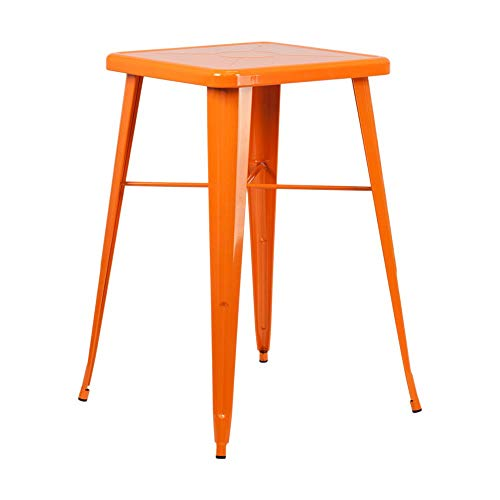 Flash Furniture 23.75'' Square Orange Metal Indoor-Outdoor Bar Table Set with 2 Square Seat Backless Stools by Flash Furniture (Image #3)