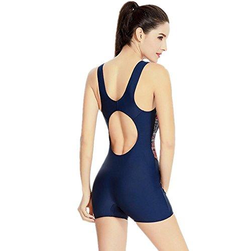 ZOYOL-YT Mujeres Traje de baño Piso Ángulo Una pieza Movimiento al aire libre Profesión Deportes Playa de gran tamaño Sunscreen Swimwear Navy
